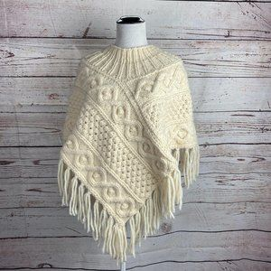 Vintage Women's Cable Knit Fringe Poncho Sweater